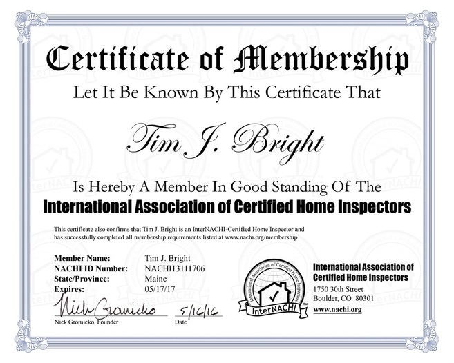 InterNACHI Certified Maine Home Inspector